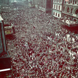 Huge Crowd Celebrating Ve Day in New York City During WWII Photographic Print