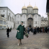 Dior Model in Soviet Union for Officially Sanctioned Fashion Show Posing in Public Photographic Print