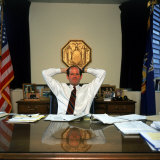 New York Attorney General Eliot Spitzer in His Manhattan Office at 120 Broadway Photographic Print