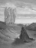 Illustration from Dore Bible of Old Testament Patriarch Abraham and the Three Angels Lámina fotográfica de primera calidad