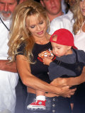 Actress Pamela Anderson Lee with Son Brandon at Motley Crue's Induction to Hollywood Walk Rock Premium Photographic Print by Mirek Towski