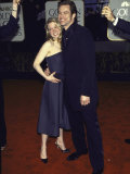 Actors Renee Zellweger and Jim Carrey at Golden Globe Awards Premium Photographic Print by Dave Allocca