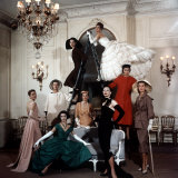 Models Wearing Latest Dress Designs from Christian Dior Photographie par Loomis Dean