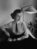 Voile Blouse Copied from Man's Dress Shirt with Pleated Front from Brooks Brothers Premium Photographic Print by Nina Leen