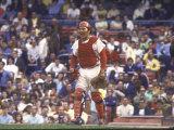 Cincinnati Redlegs' Catcher Johnny Bench in Action Alone Premium fotografisk trykk av John Dominis