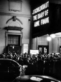 "People Gathering Outside a Theater for the Opening of ""The Diary of Anne Frank"" Premium Photographic Print by Yale Joel"