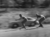 Men Roller Skiing in the Streets Premium Photographic Print