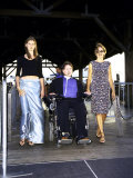 Paralyzed Actor Christopher Reeve W, Daughter Alexandra and Wife Dana on Liberty Island Premium Photographic Print by Dave Allocca