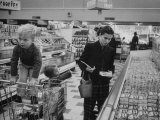 Working Mother Jennie Magill Shopping with Her Children at the Super Market Premium Photographic Print