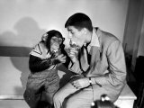 Entertainer Jerry Lewis with a Chimpanzee Premium Photographic Print by Peter Stackpole