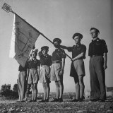 Group of the Betar Hashomonaim Standing at Attention with their Group Flag Photographic Print