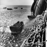 American Army Troops Coming Aboard Apa at Sea for D-Day Allied Invasion of Normandy Photographic Print by Ralph Morse