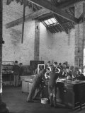 Boys Working on their Studies in the Physics Laboratory Class at Wells Cathedral Church Photographic Print