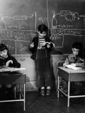 Children Studying Nuclear Physicist and Writing their Answers on the Board at the Age of 7 Photographic Print by Nina Leen