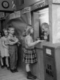 Model Post Office a Teacher Set Up in the Classroom for the Children to Learn About the Mail System Premium Photographic Print by Nina Leen