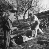 Two Men Using a Crosscut Saw on a Log Photographic Print