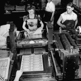 Bed Press Machine That Makes Paper Money.Chase Bank Collection of Moneys of the World Photographic Print by Myron Davis