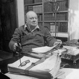 British Leader Winston Churchill Working in His Office, with Cigar in His Hand Photographic Print