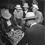 Japanese American Men Playing Game of Go at Heart Mountain Relocation Camp Photographic Print by Myron Davis