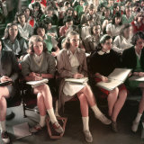 Female Students, Including Janet Trowbridge in Class at Smith College Photographic Print by Peter Stackpole