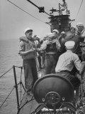 Sailors on an Italian Submarine Premium Photographic Print