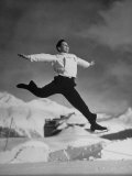 Johnny Letengarver Leaping Through the Air on His Ice Skates Premium Photographic Print