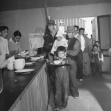 Japanese Americans Lining Up for Meals at Heart Mountain Relocation Camp Photographic Print by Myron Davis
