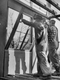 Men Putting Windows In Premium Photographic Print