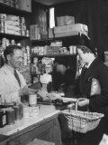 Mrs. Robert Neve Visiting Grocer's Shop Where She Is Registered for Her Rations Premium Photographic Print