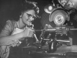 Woman Tool Maker Assembling a Buffalo Machine Gun Premium Photographic Print