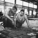 Men Looking at Blueprints at One of the Sun Shipbuilding and Drydock Co. Shipyards Photographic Print