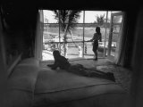 People Looking Out of House at Private Airplane Parked in Backyard Premium Photographic Print by Ed Clark