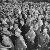 Crowd of Steel Workers Listening as the Plant Is Presented the Us Navy E Pennant Photographic Print