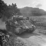 M4 Sherman Tank in Action During the Us Invasion of Saipan Photographic Print by Peter Stackpole