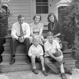 Bruner Family Sitting on the Front Porch of their Home Photographic Print by Alfred Eisenstaedt