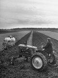 French Farmer Georges Raoul Fremond Trying Out His New Massey-Harris Tractor Obtained Through Eca Photographic Print