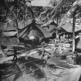 US Marines Relaxing in their Tent City Photographic Print by J. R. Eyerman