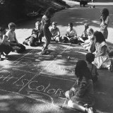 Girls and Boys Playing Hopscotch Photographic Print by Ralph Morse
