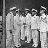 Adm. Chester with Nimitz Meeting Officers Aboard the British Battleship George V Photographic Print by J. R. Eyerman