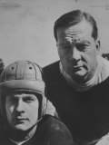 Bob Blaik Wearing a Helmet While Posing with Father, Coach Earl Blaik Premium Photographic Print