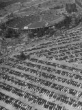 Aerial View of Rose Bowl Showing Thousands of Cars Parked around It Premium Photographic Print by Loomis Dean