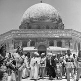 King Abdullah and His Party Standing in Front of the Dome of the Rock, a Sacred Place to Moslems Photographic Print