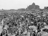 Throngs of People Crowding the Beach at the Resort and Convention City Premium Photographic Print by Alfred Eisenstaedt