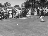 "Ben Hogan Applying ""Body English"" after Putting on 7Th, But Ball Went Foot Past Hole and Took Par Premium Photographic Print"