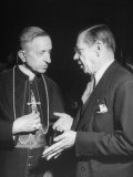 Monseigneur Fernando Cento Talking with Dr. Joseph H. Retinger Premium Photographic Print by Dmitri Kessel