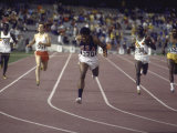 US Athlete Lee Evans Going Through Finish Line During Race at Summer Olympics Premium Photographic Print