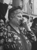 Woman Crying While Watching Funeral Procession for Pres. Franklin D. Roosevelt Premium Photographic Print by Ed Clark