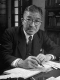 Portrait of Ichiro Hatoyama, President of the Liberal Party, Writing Letter at Desk in His Home Premium Photographic Print by Alfred Eisenstaedt