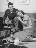 Teenage Couple Listening to Records and Having a Snack of Milk and Cookies Premium Photographic Print by Ed Clark