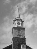 Church Steeple, with Clock Sitting in Top Section of Tower Premium Photographic Print by Ed Clark